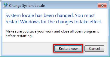 Рестартирайте компютъра за да завършите промяната
